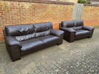 Pair of Dark Brown Leather Sofas
