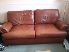 Beautiful large brown leather sofa from John Lewis