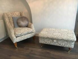 Laura Ashley Armchair and Footstool