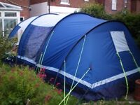 4 four person tent, Kampa Fistral. Inner compartment, footprint groundsheet, complete, little used.