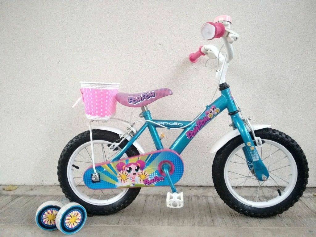 "FREE Bell with (2663) 14"" APOLLO Girls Kids Childs Bike Bicycle + STABILISERS; Age: 4-5, 98-112 cm"