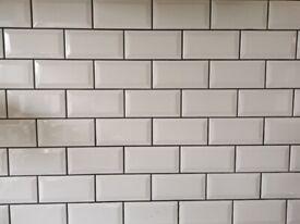 Retro white wall tiles