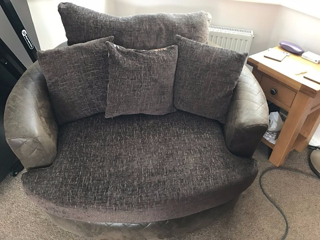 Round swivel 'cuddle' chair - large - brown fabric | in ...