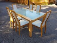 Italian Frosted Glass & Wood Dining Table & 6 Chairs FREE DELIVERY 351