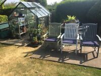 Garden chairs from royal raft, only 3 off, upcycled with cushions