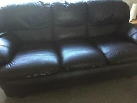 two and three seater brown leather free