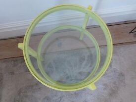 Retro circular side table with glass inserts