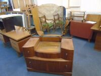 vintage dresser with 4 drawers two lift up compartments large mirror.