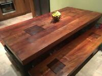 Indie Solid Oak Table & Bench Set