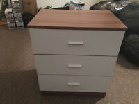 wooden white cabinet with three drawers ** cupboard