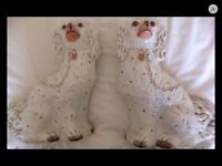 Pair Antique Dogs, English Victorian Staffordshire Pottery White Spanniel Dogs