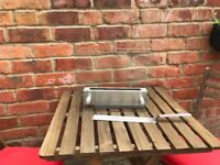 Brand new, unused glass & brushed steel table top fire