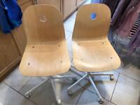 2 x IKEA Swivel chair VÅGSBERG/SPORREN Birch veneer/white