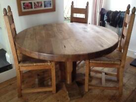 Round Oak Table and Chairs