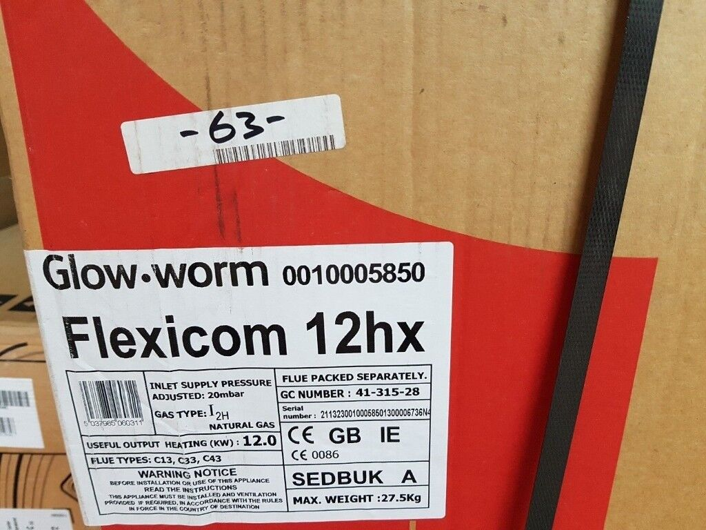 Glow worm flexicom 12 HX Regular Boiler Natural Gas 10005850 | in ...