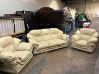 REAL LEATHER 3 PIECE SUITE NICE DESIGN 3 SEATER & 2 SINGLE ARM CHIARS + FREE DELIVERY MCR