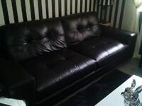 3/4 seater and 2 seater black real leather sofas