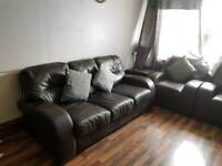 3,2,1 seater sofa dark brown