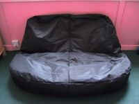 Black double bean bag sofa