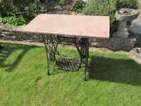 Antique Composite Marble Top Treadle Sewing Machine Base Garden Table