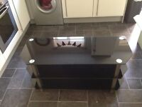 Black glass TV Unit stand used but very good condition
