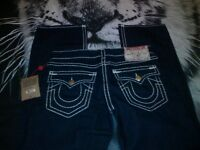 MEBS TRUE RELIGION JEANS RICKY SUPER T GENUINE RRP £300 DARK BLUE
