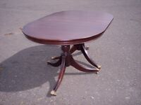 Oval solid mahogany folding table, vintage double pedestal dining table- to seat 6 people