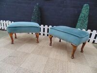 2 ABSOLUTELY STUNNING FOOT STOOLS WITH A GORGEOUS BLUEISH/GREENISH VELVET FABRIC AND MAHOGANY LEGS