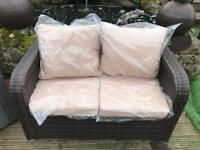 Outdoor Garden conservatory rattan 2 seater sofa brown - free delivery