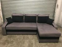 FREE DELIVERY GREY & BLACK FABRIC L-SHAPED CORNER SOFA GOOD CONDITION