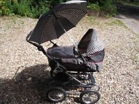 Silver Cross Dolls Pram and carry seat