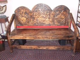 Ethnic Hand carved Hardwood Bench