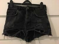 Topshop denim Jean shorts size 8. Black. Rips. Distressed.