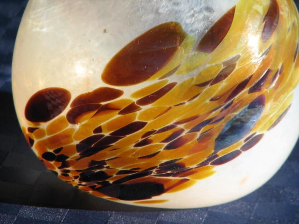 Jugendstil Vase mit Rüschenrand Bernstein Optik Art Deco Designer in Kirkel