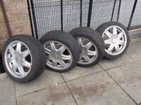 ALLOY WHEELS AND TYRES FROM SEAT IBIZA R16S 205 x 45, decent condition alloys with decent tyres