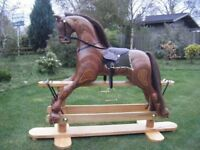 rocking horse wooden hand carved - NEW