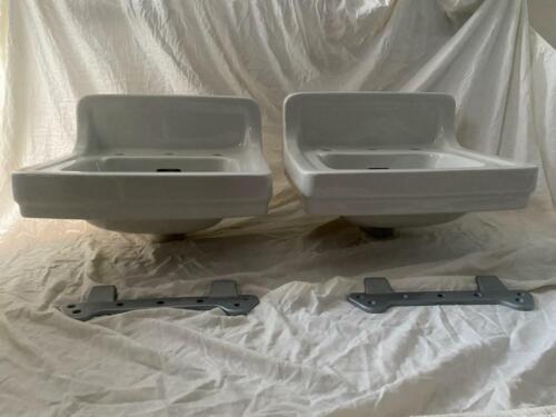 2 Vtg White Porc, Ceramic Bathroom Wall Sink American Standard w/ brackets $200