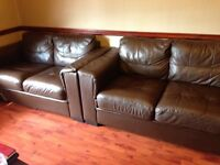 2x's Brown leather 2 Seater Sofa