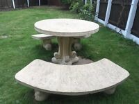 Stone Garden Table and Benches with Stools