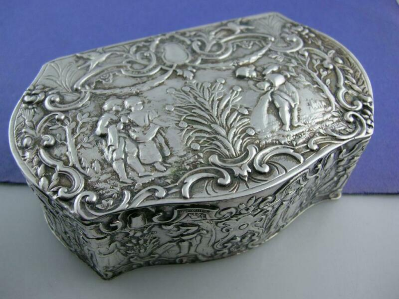 800 Silver Box STORCK & SINSHEIMER Hanau Germany Elaborate figural scene