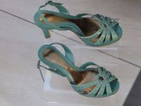 Ladies M & S Limited Edition Shoes - High Heeled Party Style - Size 5 in green