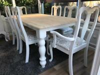 Gorgeous 6ft Shabby Chic Farmhouse Oak Table and 6 Lovely Chairs inc 2 Carvers