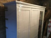 Wardrobe - large Ikea wardrobe almost new with three sections hanging and shelf with mirror