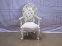 Ex-Display Riga Throne Arm Chair Wedding Events Luxury Ornate Carved Furniture Italian French Stage