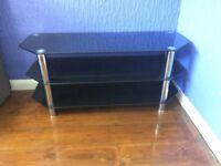 TV stand, black glass