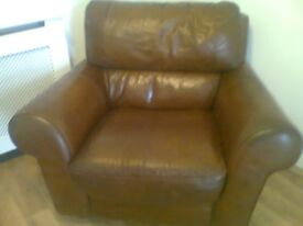 Natuzzi Chestnut Brown Leather Sofa with Armchair for sale