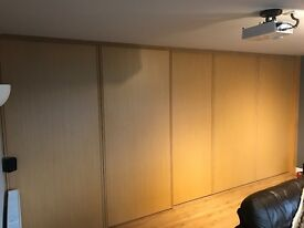 Possibly ikea oak effect 5m run of sliding doors and tracks to suit typical ceiling 2.34 to 2.36m