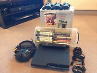 PS3 slim 320GB mint condition (3 controllers, headset, 15 games, remote)