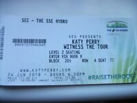 """Katy Perry """"Witness the Tour"""" Emerald Package Concert Ticket Glasgow 24thJune 2018"""