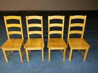 4 X solid oak dining table chairs ( item 8 )